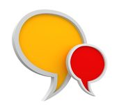 Speech bubbles. Three dimensional colorful speech bubbles on white background Stock Photos