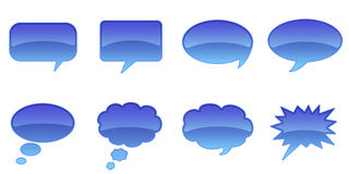 Speech Bubbles. Set Glossy Colourful Speech Bubble Icons, Internet Web Page Navigation Symbols Royalty Free Illustration