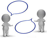 Speech Bubbles And 3d Characters Shows Discussion And Gossip Royalty Free Stock Photos