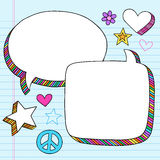 Speech Bubbles 3D Notebook Doodles Vector Set Stock Images