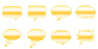 Speech Bubbles. Set Glossy Colourful Speech Bubble Icons, Comic Symbols Stock Illustration