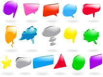 Speech bubbles. Vector - speech bubbles and other shapes in glossy, 3D format Stock Images