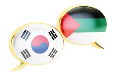 Speech bubbles, Arabian-Korean translation concept. 3D rendering. Speech bubbles, Arabian-Korean translation concept Royalty Free Stock Images