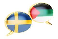 Speech bubbles, Arabian-Swedish translation concept. 3D renderin. Speech bubbles, Arabian-Swedish translation concept Stock Image