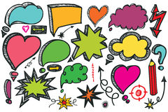 Speech Bubbles,arrow set.Doodle colored vector Stock Photos
