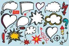 Speech Bubbles,arrow set. Doodle colored vector Stock Images