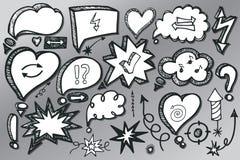 Speech Bubbles,arrow set. Doodle sketchy Stock Images