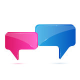 Speech bubbles. Blue and pink speech bubbles isolated on white background, illustration Stock Photos