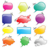 Speech bubbles bright with scissors Royalty Free Stock Photography