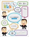 Speech bubbles with businessman stock illustration