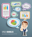 Speech Bubbles with businessman. Speech Bubbles with a smart businessman Royalty Free Stock Image