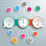 2 Speech Bubbles Chain Network Clock Royalty Free Stock Images