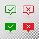 Speech bubbles with check marks. Green tick and red cross flat modern symbols isolated on transparent background vector illustration