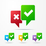 2 speech bubbles with check marks red / green Royalty Free Stock Photo