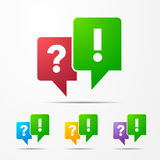 2 speech bubbles with check marks red / green. And different colors Royalty Free Stock Photography