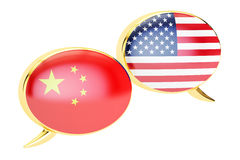Speech bubbles, Chinese-USA conversation concept. 3D rendering. On white background Royalty Free Stock Image