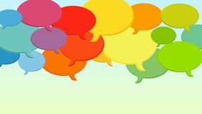 Speech bubbles cloud looping animation. Social media speech bubbles cloud animation. Various colors for different media or opinions. The animation is looping