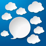 Speech Bubbles With Clouds Blue Background Stock Image