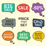 Speech bubbles collection set with price tags. Multicolored labels. Sale promotion speech bubbles collection set with price tags isolated on beige. Vector Royalty Free Stock Images