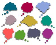 Speech bubbles. Colorful clouds on White background Royalty Free Stock Photo