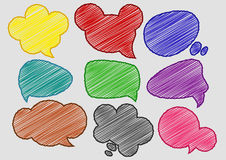 Speech Bubbles Colorful Pen Shading effect sets Royalty Free Stock Photo