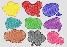 Speech Bubbles Colorful Pen Shading effect sets. Vector Illustration Of Speech Bubbles Colorful Pen Shading effect sets Vector Illustration