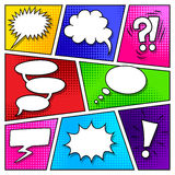 Speech bubbles on comic book page vector Stock Images