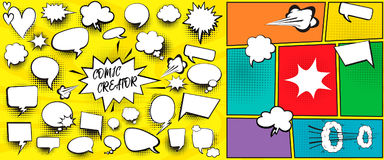 Speech bubbles comic creator set. With isolated elements vector Royalty Free Stock Photos