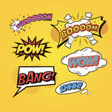 Speech bubbles Comics speech and exclamations. Stock Photo