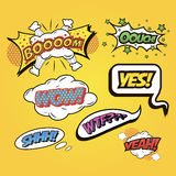 Speech bubbles Comics speech and exclamations. Stock Photos