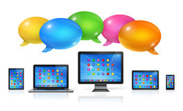 Speech bubbles and computers set Stock Photos