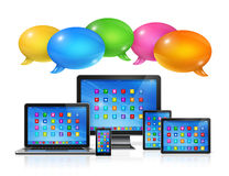 Speech bubbles and computers set Royalty Free Stock Image