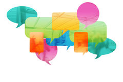Speech Bubbles, concept of people talking. Speech Bubbles and people in background stock images