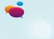 Speech bubbles copy space. Copy space design with colorful speech bubbles and entangled lines on white blue background Stock Image