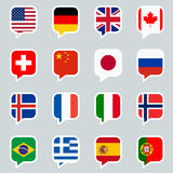 Speech bubbles with country flags Royalty Free Stock Photos