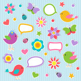 Speech bubbles with cute birds Royalty Free Stock Image