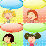 Speech bubbles and cute girls Stock Photography