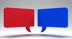 Speech Bubbles 3d render 3d illustration. Red and blue Speech Bubbles 3d render 3d illustration Royalty Free Stock Image