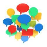 Speech bubbles. 3D speech bubbles on a white. Chat and social network communication concept stock illustration