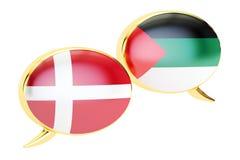 Speech bubbles, Danish-Arabian translation concept. 3D rendering Stock Image