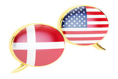 Speech bubbles, Danish-USA conversation concept. 3D rendering Stock Image