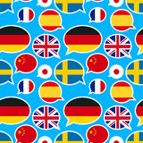 Speech bubbles with different flags on blue background Stock Photo
