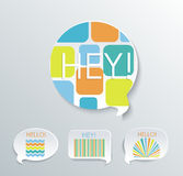 Speech bubbles with different pattern elements. Stock Image