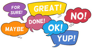 Speech bubbles. Different wording in speech bubbles Royalty Free Stock Images