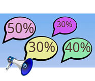 Speech Bubbles Discounts in the Sky Stock Photo