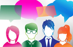 Captioned Youth. A diverse group of people in simple silhouettes with speech bubbles. Conveying diverse opinions and communication Stock Photo