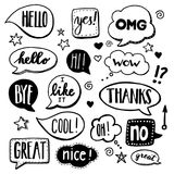 Speech Bubbles - Doodles. Speech bubbles drawn by hand - doodles. Dialog words, conversation phrases vector illustration