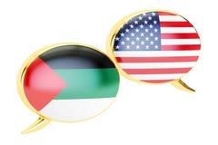 Speech bubbles, English-Arab conversation concept. 3D rendering. Speech bubbles, English-Arab conversation concept. 3D Royalty Free Stock Photos