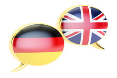 Speech bubbles, English-German conversation concept. 3D rendering. On white background royalty free illustration
