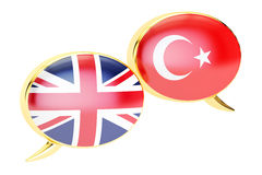 Speech bubbles, English-Turkish translation concept. 3D renderi Stock Photography